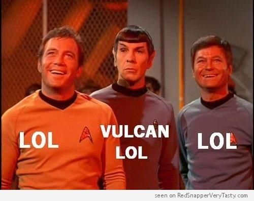 Star Trek's Captain Kirk, Bones McCoy and Spock share a nice LOL.
