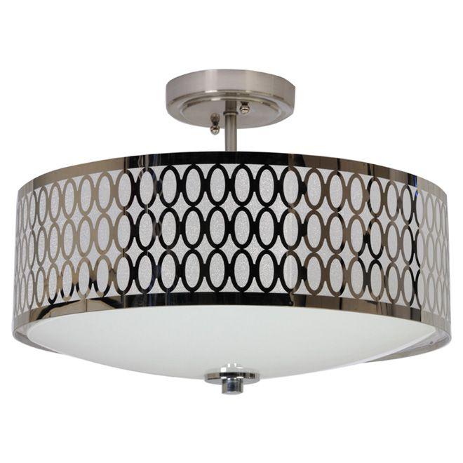 2-Light Semi-Flush Ceiling Light - Chrome
