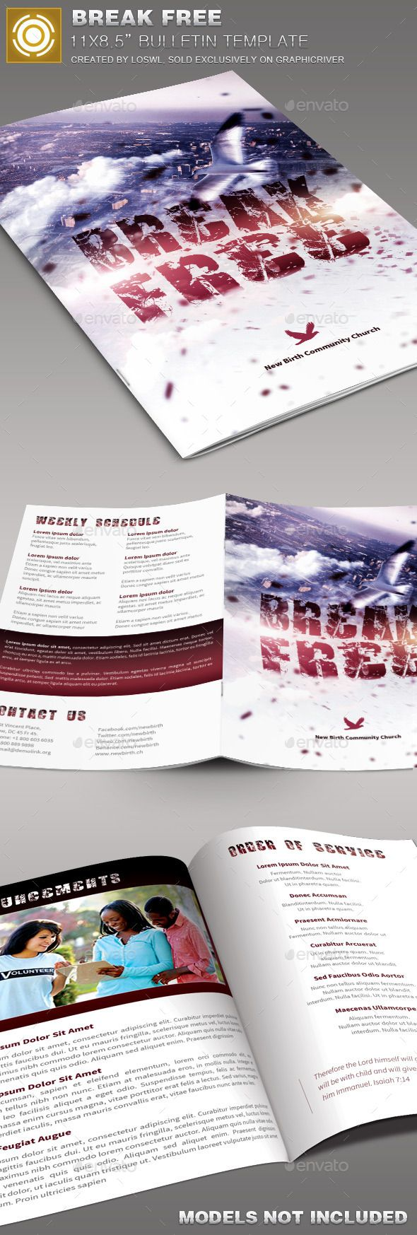 Best Church Bulletin Templates Images On Pinterest Brochure - Free church brochure templates