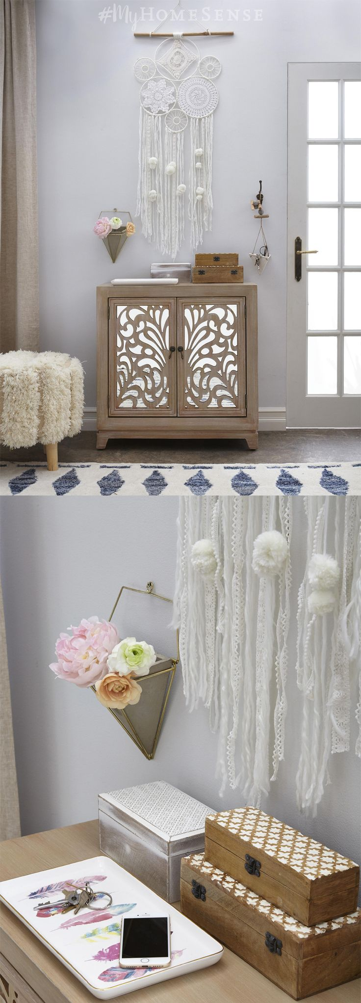 Details, details! Special touches, like a carved wood cabinet with mirror details, bring personality to any space. Pile on the personality with wall hangings, ornate storage boxes and a few faux florals to complete the look. Visit HomeSense today for endless possibilities to add personal style to your space.