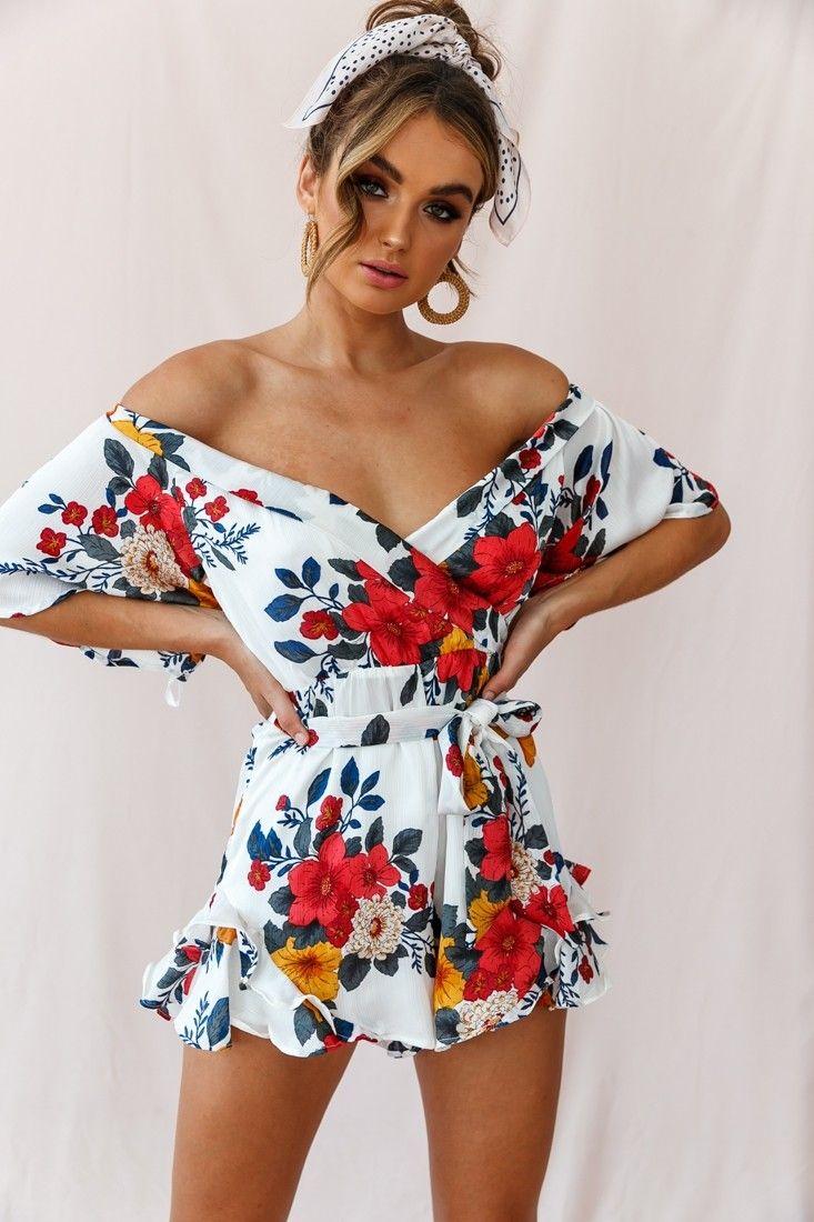 Buy The Ambrosia Off Shoulder Floral Romper White Selfie Leslie Floral Outfit Summer Off Shoulder Floral Dress Floral Outfit [ 1100 x 733 Pixel ]