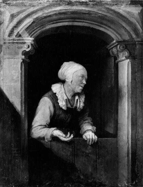 Gerard Dou. Oude vrouw bij een onderdeur. ca. 1660-1665. Museo Civico d'Arte Antica, Milaan. Mogelijk een pendant van Dou's schilderij Oude vrouw met kan in een venster. De twee panelen zijn even groot. Misschien hebben ze als tegenhangers gediend: 2 uitbeeldingen van een tevreden oude dag, de ene figuur kletsend met de buurvrouw, terwijl de andere haar planten water geeft.