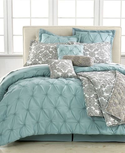 A soothing spa blue hue creates a calming retreat for your sleep sanctuary in the Jasmin Blue 10 Piece Comforter Sets, featuring beautiful pintuck pleats that cascade up three-fourths of the bed. A...