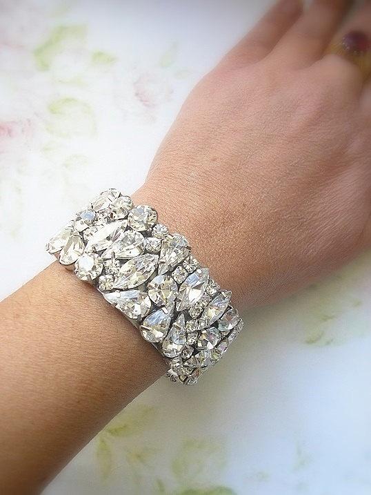 Bridal Statement Rhinestone Cuff Bracelet ,wedding Jewelry Bracelet, Sparkle Cuff Bracelet , jewelry, Wedding Jewelry Accessories. $86.00, via Etsy.