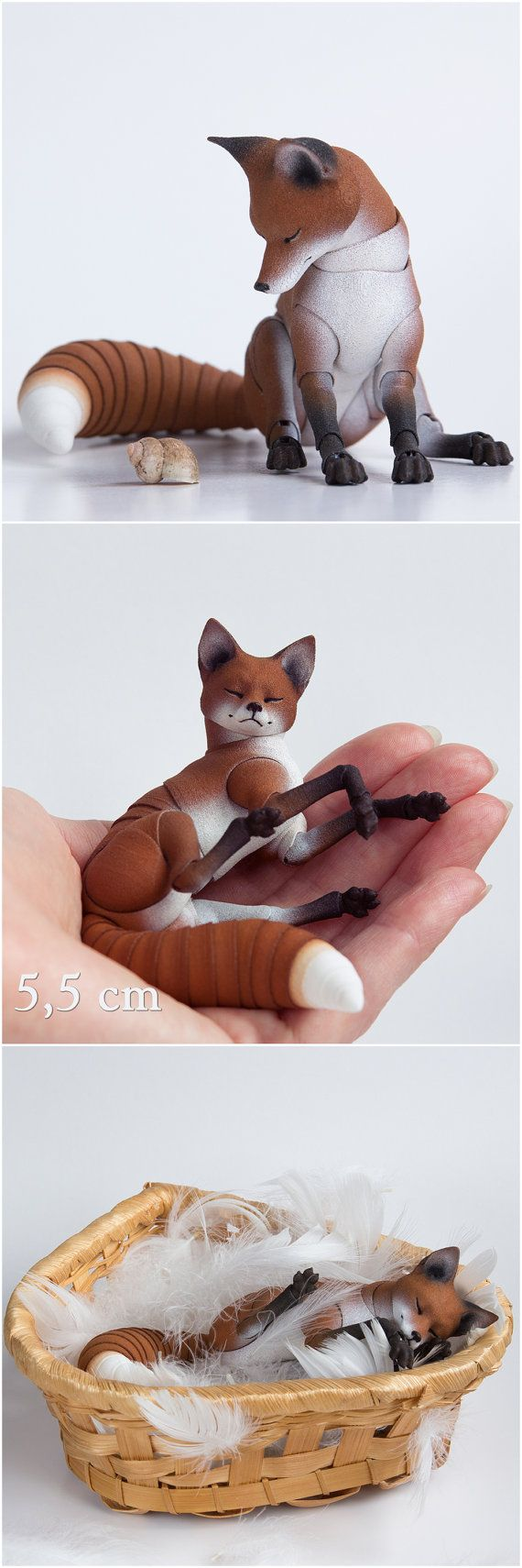 Pre-order. An adult fox is 3D printed BJD. Sizes start from 5,5 cm to 10,5 cm, one or 2 heads. Ball jointed dolls are for the pre-order.