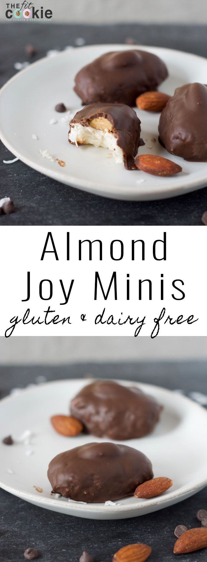 If you love candy bars, make some healthier ones at home! These Almond Joy and Mounds Minis are perfect: they are easy to make, dairy free, gluten free, and grain free - @TheFitCookie #grainfree #glutenfree #dairyfree