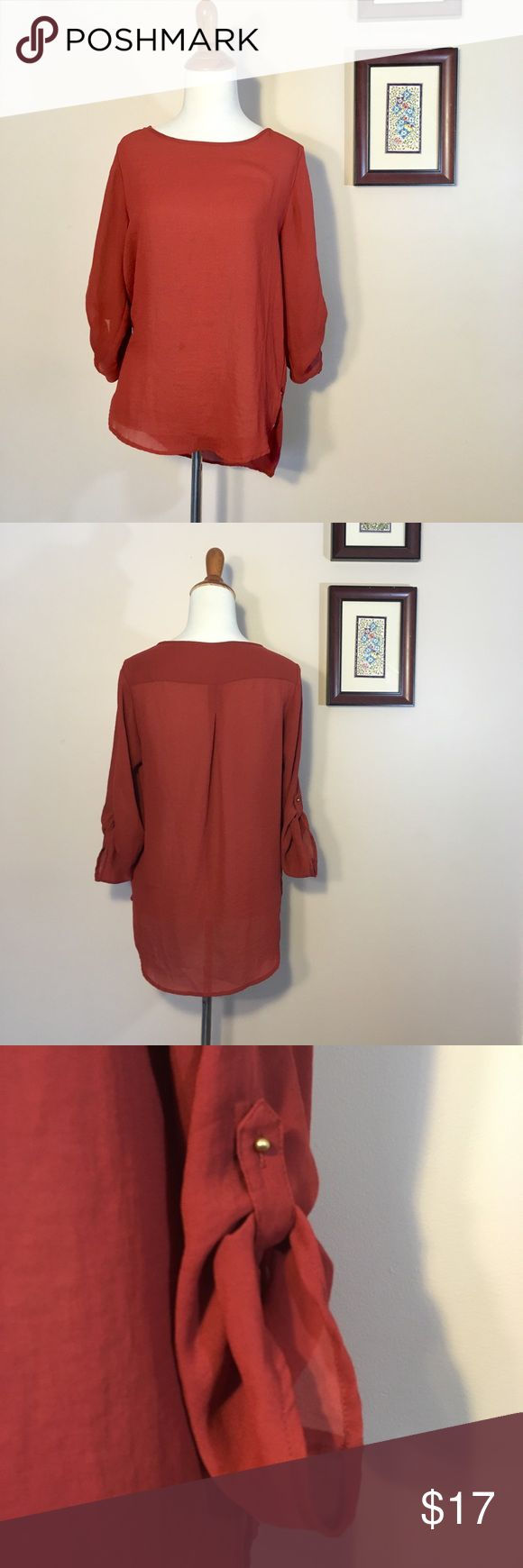 Zara Burnt Orange Chiffon Convertible Sleeve Top Size XS Zara Basic top with convertible sleeves and gold detailing. Semi sheer chiffon. Oversized so could fit a small. Small snag as shown i photos. Great career piece or could be cute for a night out! Color is more like second picture Zara Tops Blouses