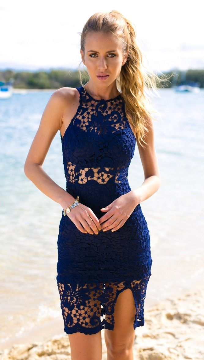 Navy Blue Crochet Open Back Bodycon Dress #ustrendy www.ustrendy.com
