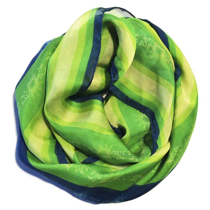 Progetto  tessile di STRATEGIC-DESIGN  per foulard in seta con grafica originale,variante in verde