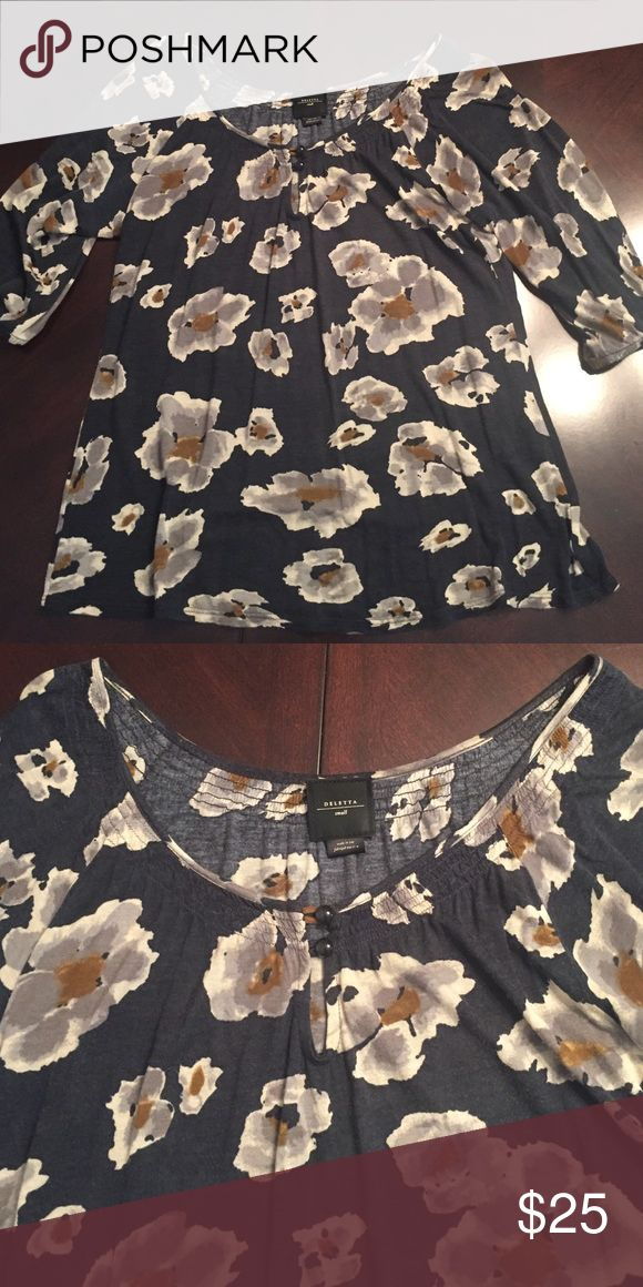 Charcoal cotton blouse with floral print Charcoal cotton top with gray/camel floral print. Smocked at top with two buttons. Anthropologie Tops Blouses