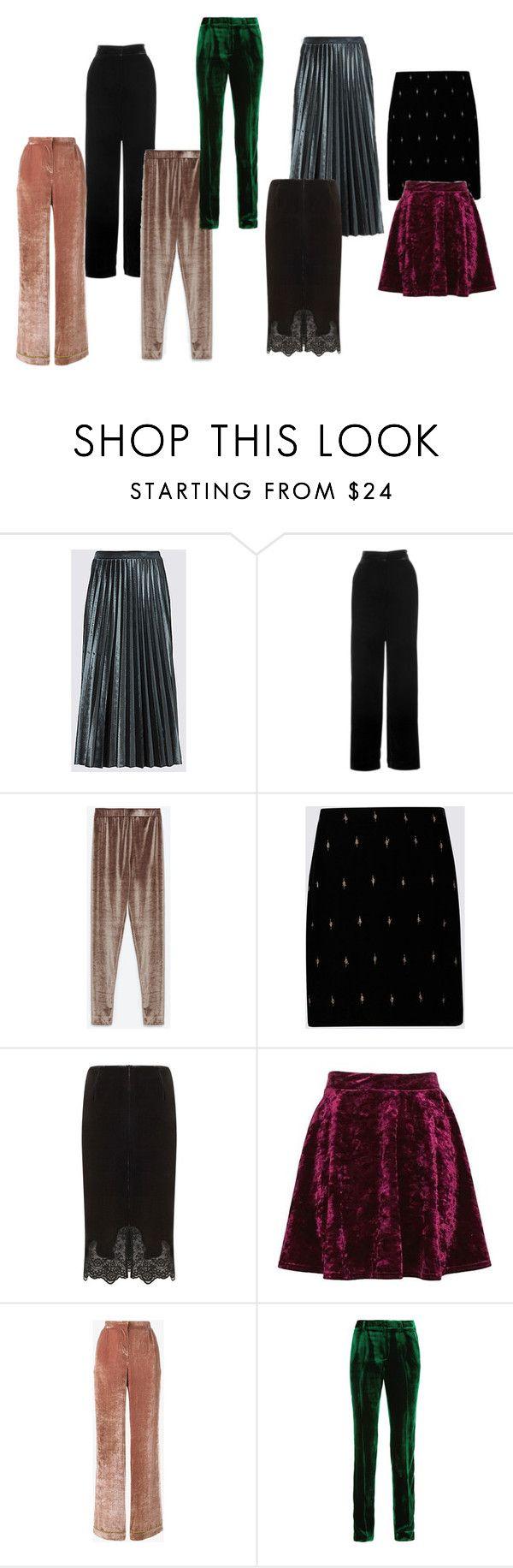 Velvet trousers and skirts by kettlewellcolours on Polyvore featuring Mode, Alberta Ferretti, Marks & Spencer, Whistles, Mint Velvet, Belgique, Topshop and Haider Ackermann