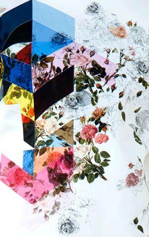 surface print ~ Preen by Thornton Bregazzi Spring 2014 Fashion Collection *geometric floral mashup*