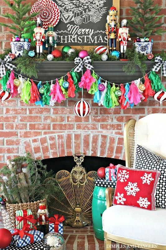 COLORFUL CHRISTMAS MANTEL WITH HOBBY LOBBY #hobbylobbychristmas