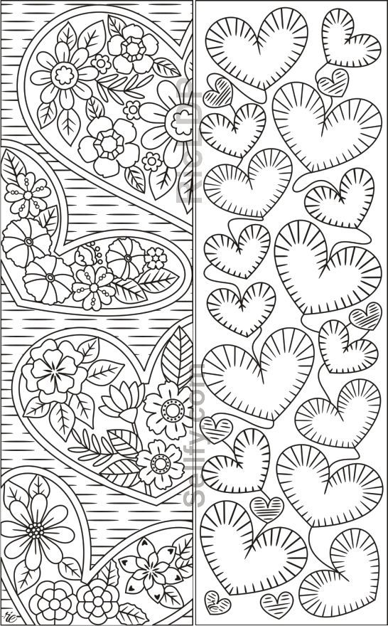 coloring bookmarks with hearts  coloring pages
