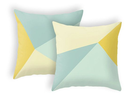 Teal and yellow throw pillow cover that will liven up any room. In the second photo you can see how it would look combined with another pillow of the