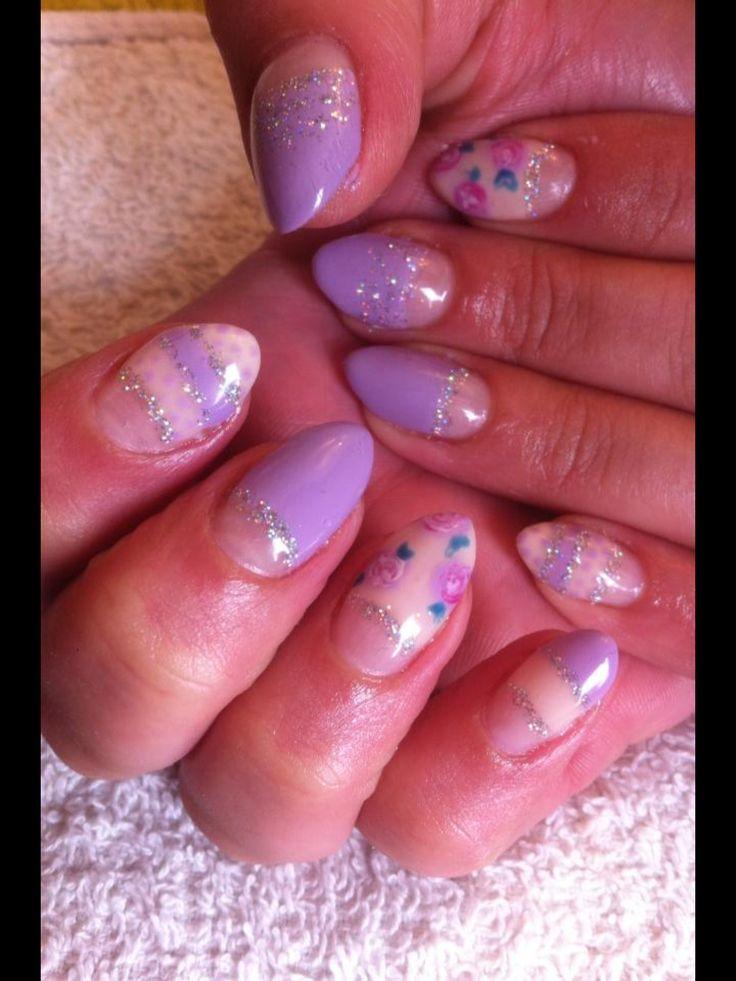 Pretty summer glitter lilac purple rose floral half moon manicure CALGEL nails