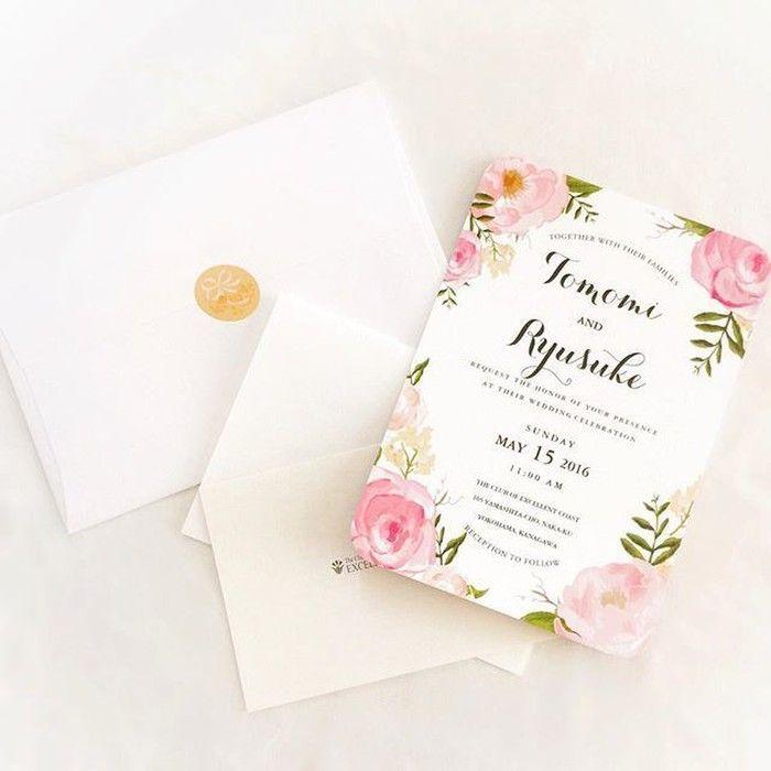 鮮やかな緑に囲まれたガーデンにて結婚式を行われた卒花嫁「 juri_co_co」さま。ガーデンウェディングをイメージされたデザインの招待状を制作されました。様々な色合いのピンクがエレガントさを演出していますね♡