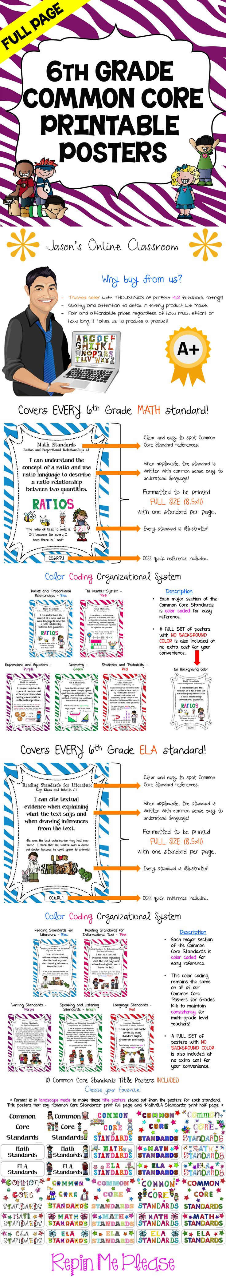6th GRADE COMMON CORE POSTERS - Save a ton of time by buying our FULL PAGE SIZE pre-made Common Core color coded posters with detailed visual examples. We also offer half-sized posters which can be found at our TpT store. $$