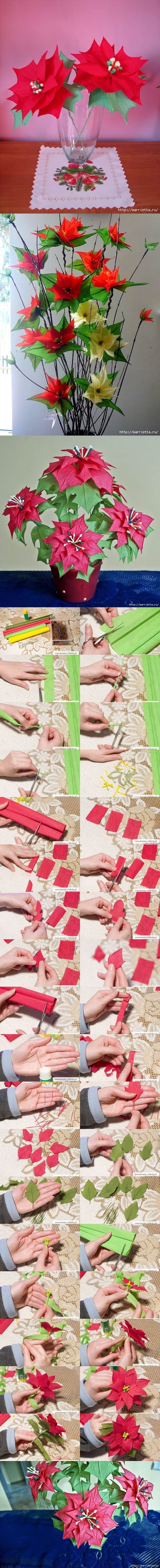 DIY Crepe Paper Poinsettia the Christmas Star | iCreativeIdeas.com Like Us on Facebook == https://www.facebook.com/icreativeideas