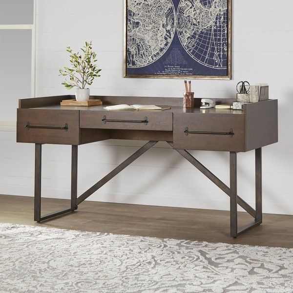 Desk And Shelf Are Made With Acacia Veneer And Hardwood Solids Rendered In An Oiled Walnut Coloration For A Solid Wood Writing Desk Wood Writing Desk Furniture