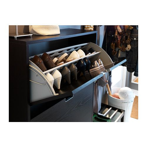 St ll shoe cabinet with 3 compartments black brown for Ikea stall shoe rack