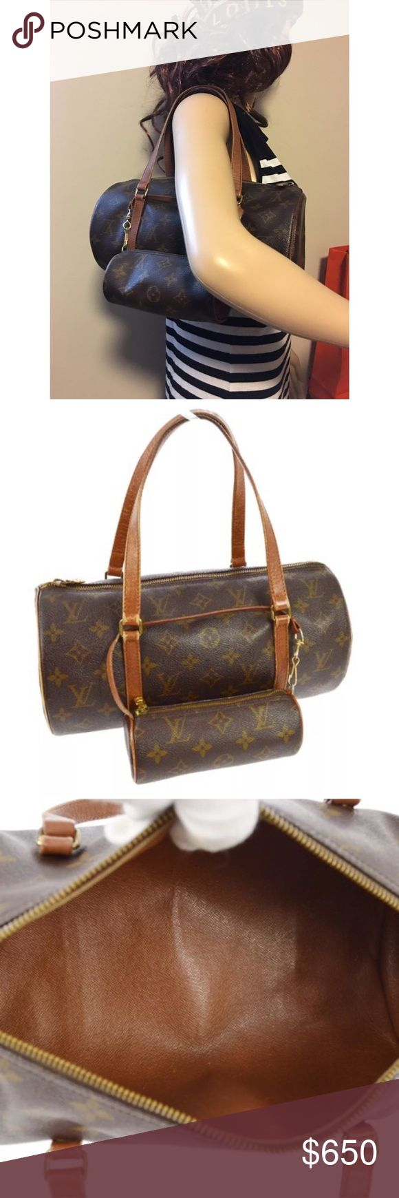 "Louis Vuitton Papillon 30 Bag with Free LV Pouch Very clean Original Louis Vuitton Monogram Papillon 30 Shoulder Bag.  Code: NO 0974 Size: 11.8"" x 5.9"" x 5.9"" Handle drop: 7.5"" Canvas leather -LV Monogram  Country of origin - France Condition: Excellent - Some wear on handles near hardware. Inside writing is fading. Photos are best description. Cosmetic bag in photo is INCLUDED. Louis Vuitton Bags Shoulder Bags"