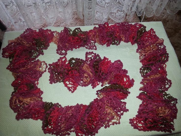 Pink and Brown Ruffle Bobble Scarf - New Hand Knitted