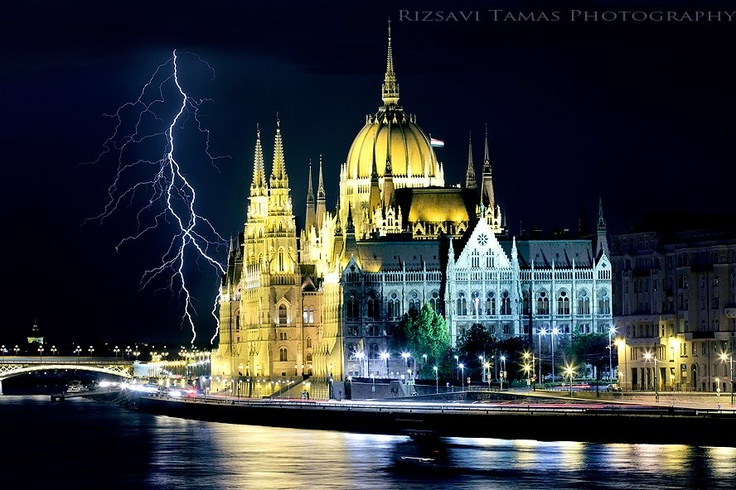 Storm above the Parliament in Budapest