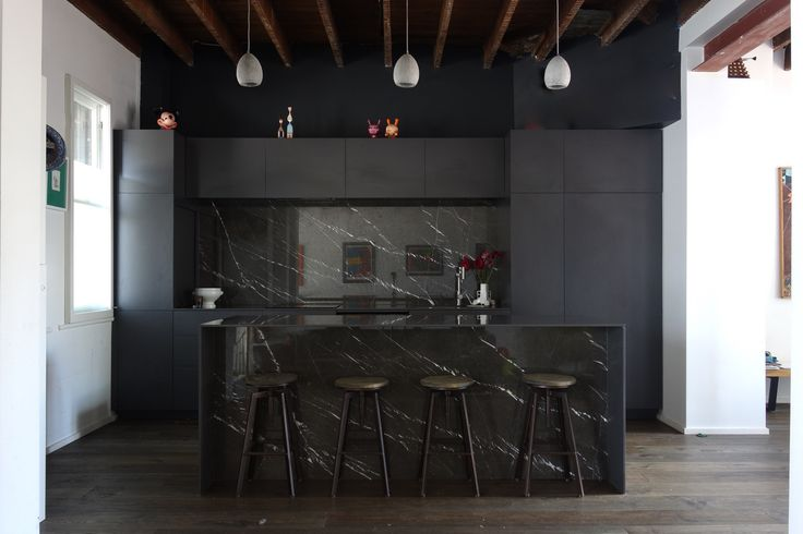 Create A Kitchen That S Cool Calm And Functional: Black Kitchen Installed. Pietra Grey Marble 12mm Silestone