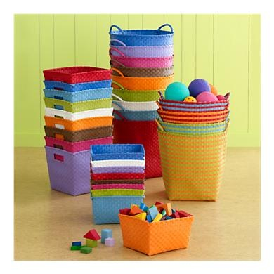 Storage solutions in fun colors.