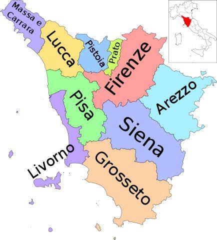 La Toscana è una regione dell'Italia centrale con capoluogo Firenze, città più popolosa della regione, ma anche centro storico, artistico, economico ed amministrativo. Le altre province, altrettanto importanti dal punto di vista storico-turistico-paseaggistico sono Massa e Carrara, Lucca, Pistoia, Livorno, Siena, Arezzo, Grosseto, Prato e Pistoia.  Qui B&B nella regione Toscana http://bedandbreakfast.place/it/bb-toscana