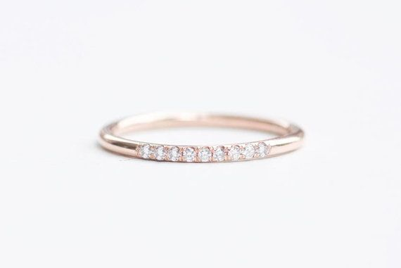 Rose Gold Diamond Wedding Ring Rose Gold Half by capucinne on Etsy