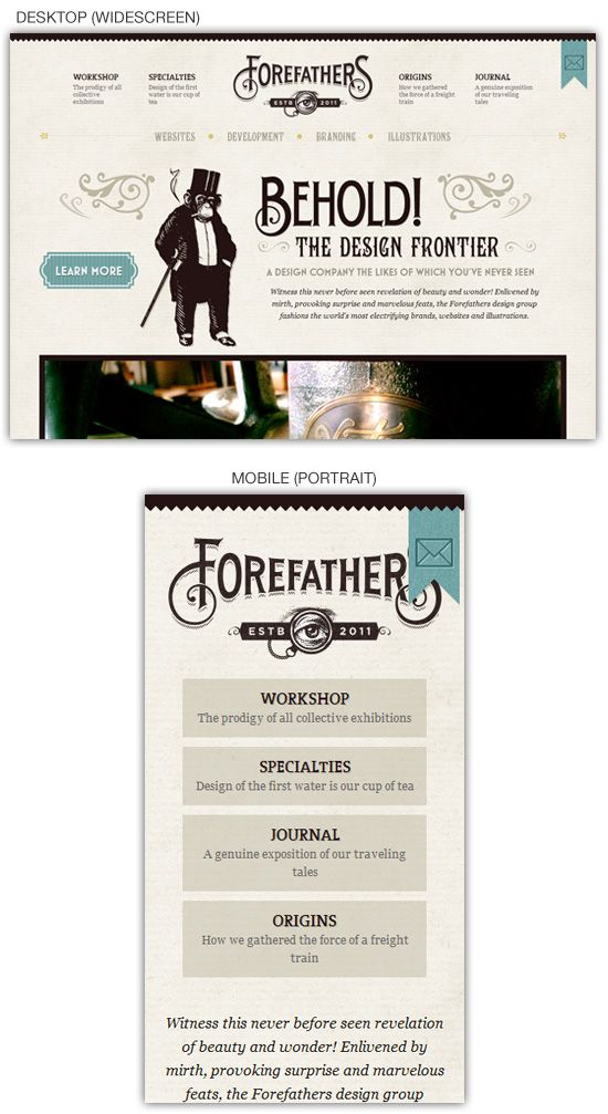 Forefathers Responsive Site Design