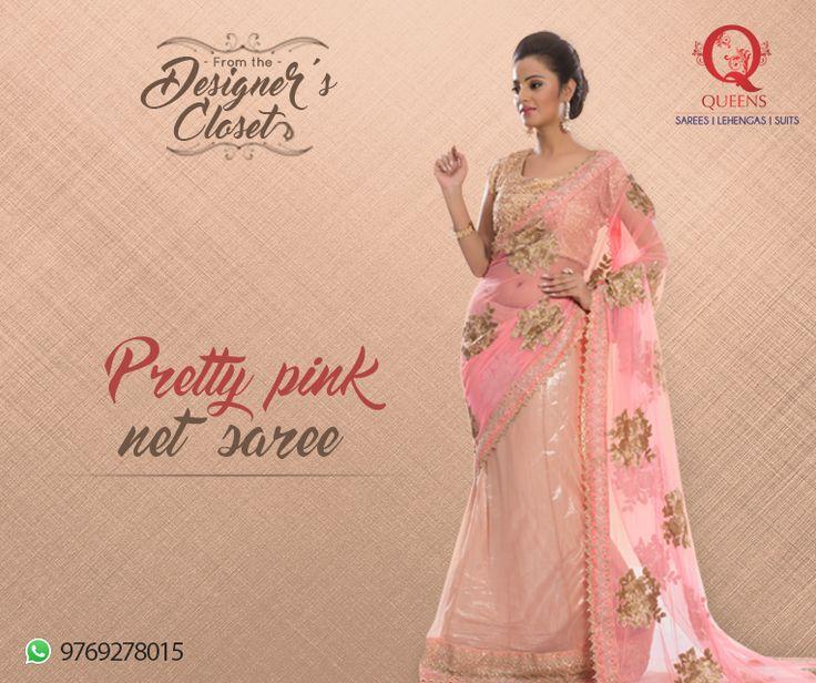 Whatsapp us on 9769278015 to know about this pretty pink net saree from Queens Emporium. #Sarees #QueensEmporium