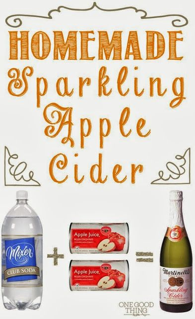 HOMEMADE Sparkling Apple Cider - a great non-alcoholic drink to make for kids for Thanksgiving! #home