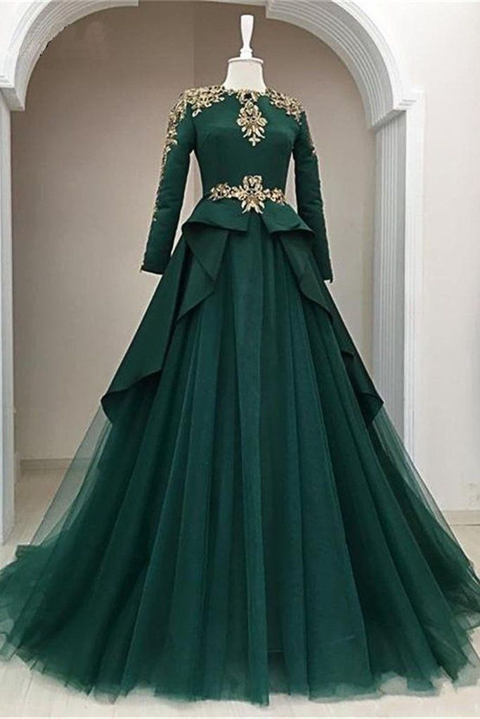 Dark Green Satin Tulle O Neck Long Sleeve Arabic Formal Prom Dress With Applique 15