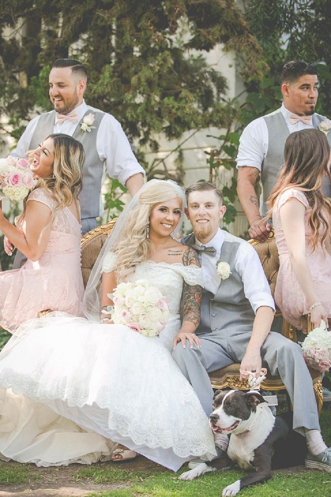 Tattooed Bride - Outdoor Wedding, Dogs at weddings. Bridal party portraits
