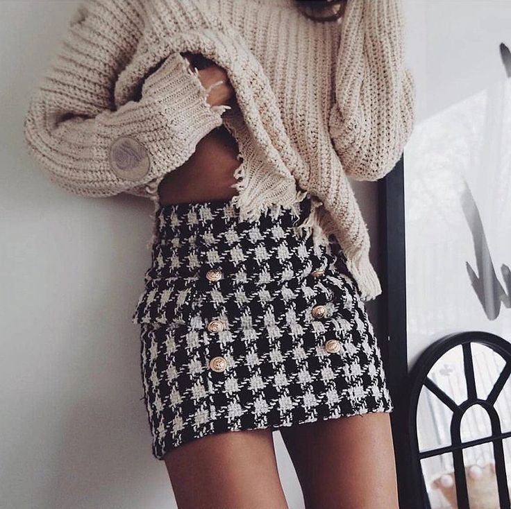 New black white plaid sexy mini pencil #skirt high waist women houndstooth winter