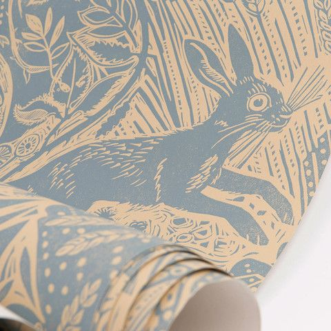 Harvest Hare wallpaper I would like this in the chalk colour way for the hearth wall