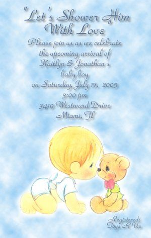 Precious Moments Baby Shower Invitations Baby Boy Amp Bear