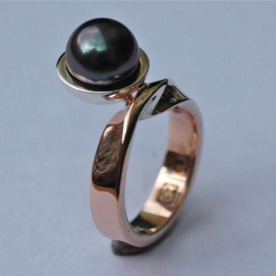 'Storm in a Teacup' tahitian pearl and rose gold mobius twist ring.