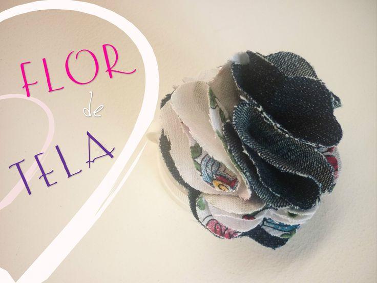 Manualidades: COMO hacer FLOR de TELA  DIY - Making fabric flower