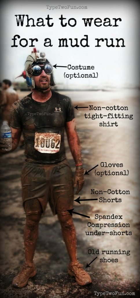 What to Wear for a Mud Run.  Tips on what to wear for your first obstacle race!
