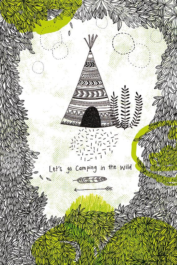 Camping in the wild no 1 Archival Art Print by lovelysweetwilliam #etsy