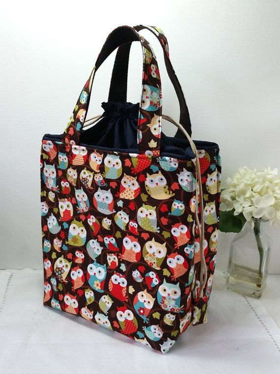 Drawstring Insulated Lunch Bag / Fabric Lunch Bag / Lunch Box / Drawstring Insulated Lunch Boxes