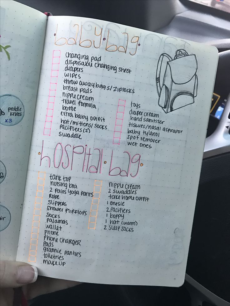 Hospital & diaper bag checklist bullet journal entry