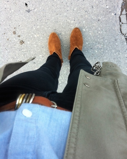 chambray shirt military style jacket chelsea ankle boots
