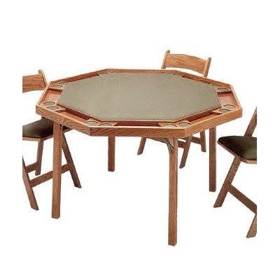 """Kestell Furniture 57"""" Contemporary Folding Poker Table Upholstery: Burgundy Felt, Finish: Spanish Oak"""