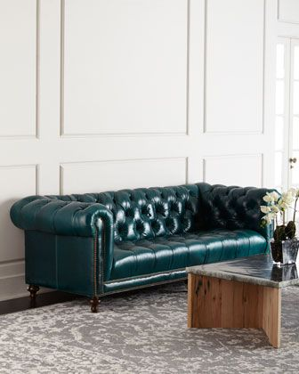 Turquoise tufted leather Chesterfield Sofa