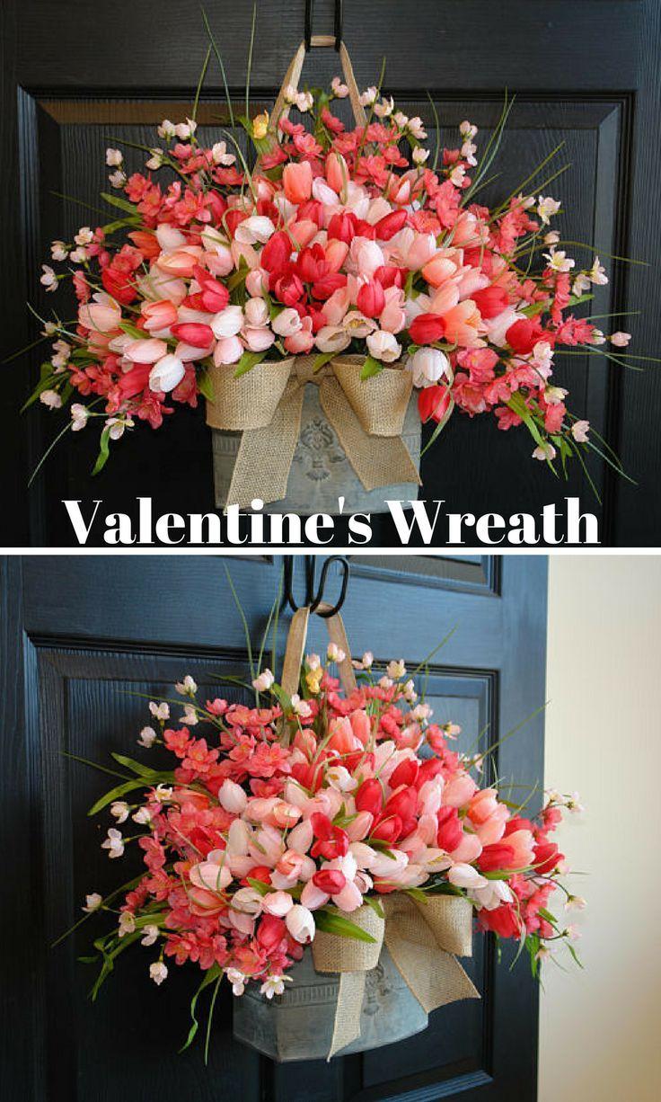 Etsy - Valentine's Wreath - beautiful faux tulips wreath/door arrangement. The perfect front door or wall decor, outdoor front door decorations.    #ad#valentinewreath